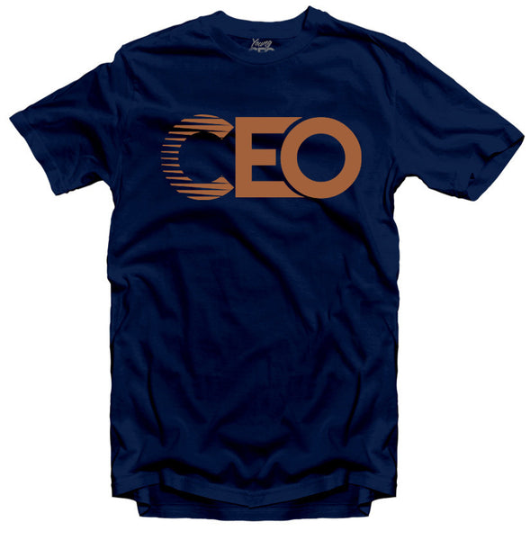 CEO NAVY TEE BRONZE LOGO
