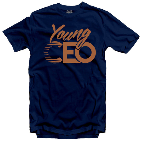 YOUNG CEO NAVY TEE BRONZE LOGO