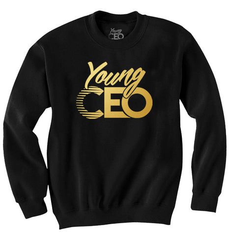 YOUNG CEO BLACK CREW NECK GOLD LOGO