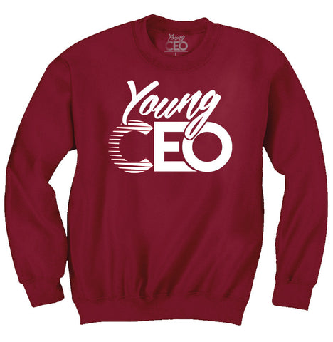 YOUNG CEO BURGUNDY WHITE LOGO