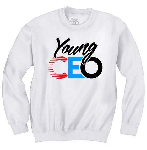 YOUNG CEO LOGO WHITE CREW NECK SWEATER