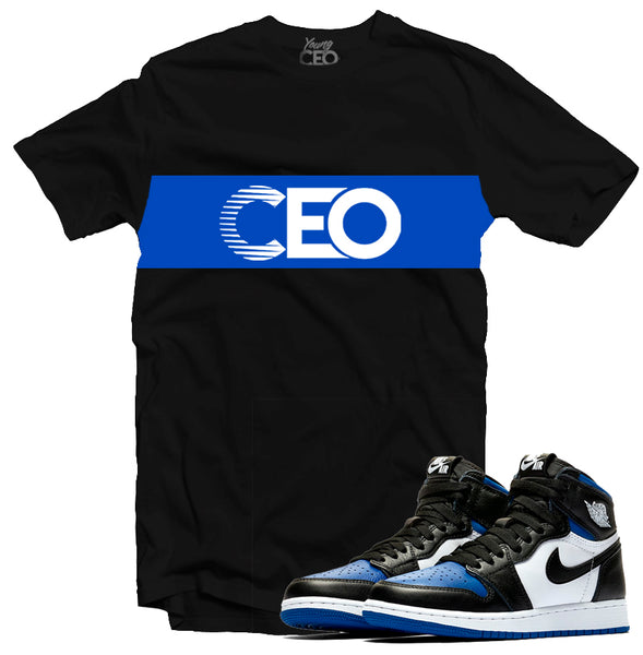 Jordan 1 Royal Staple Black Tee-Young CEO