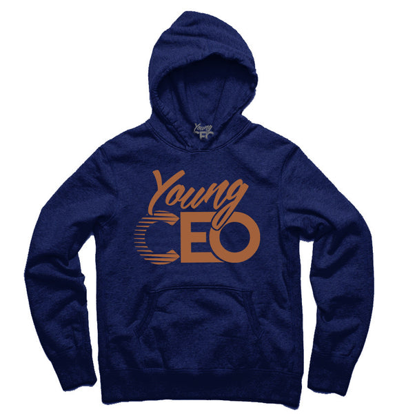 YOUNG CEO NAVY HOODIE BRONZE LOGO
