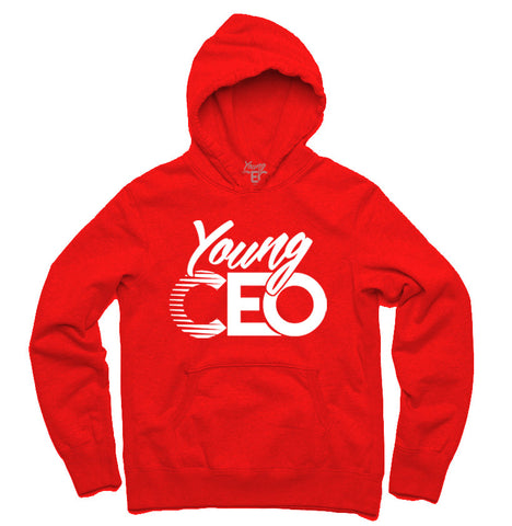 YOUNG CEO RED HOODIE WHITE LOGO