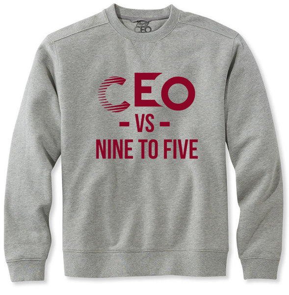 CEO vs 9-5 Burgundy & Heather Grey crew Neck