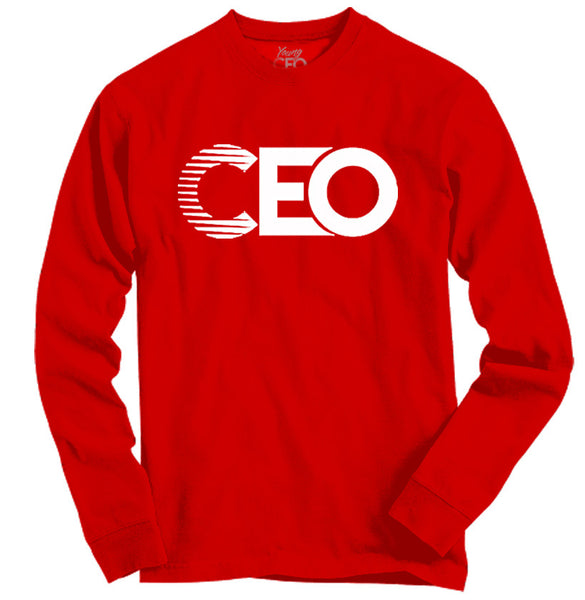 CEO RED LONG SLEEVE WHITE LOGO
