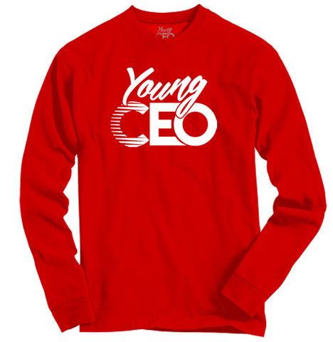 YOUNG CEO RED LONG SLEEVE WHITE LOGO
