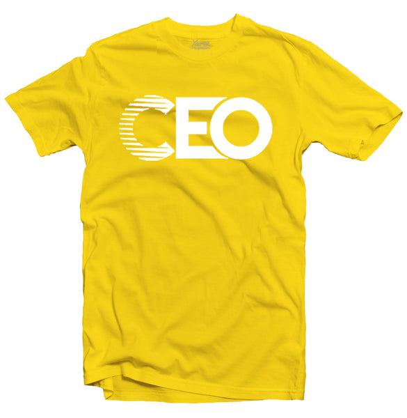 YOUNG CEO-CEO WHITE LOGO YELLOW TEE