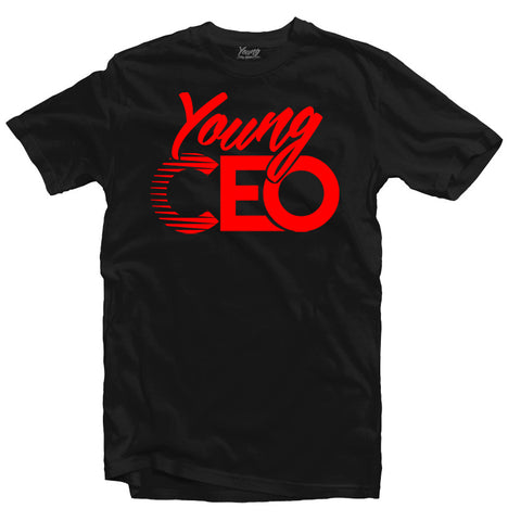YOUNG CEO RED LOGO BLK TEE