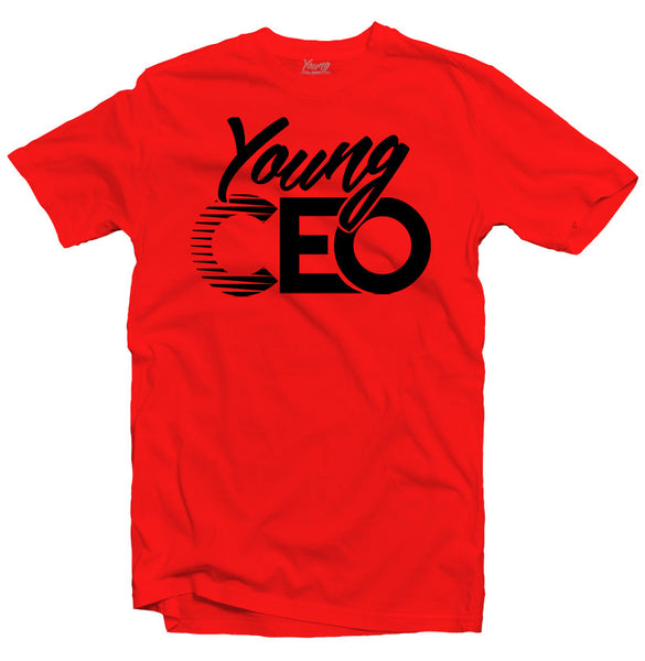 YOUNG CEO RED TEE BLK LOGO