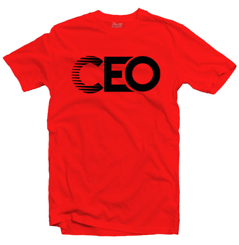 CEO RED TEE BLK LOGO
