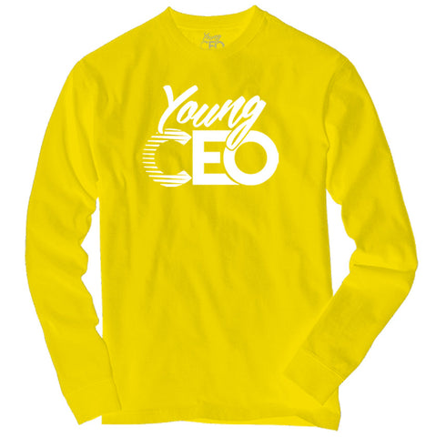 YOUNG CEO YELLOW LONG SLEEVE WHITE LOGO