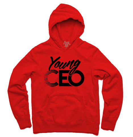 YOUNG CEO RED HOODIE BLK LOGO