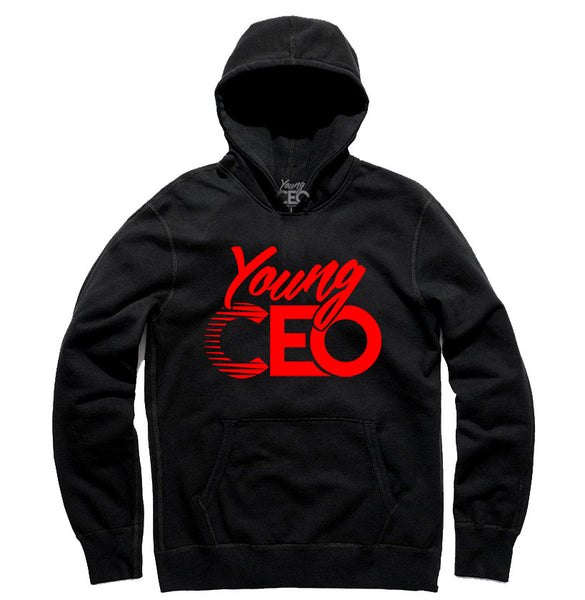 YOUNG CEO RED LOGO BLK HOODIE