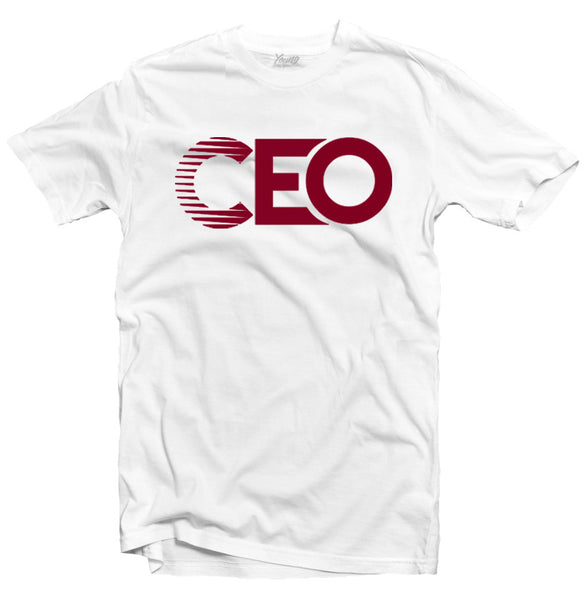 CEO WHITE TEE BURGUNDY LOGO