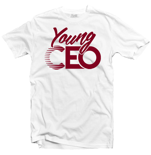YOUNG CEO WHITE TEE BURGUNDY LOGO