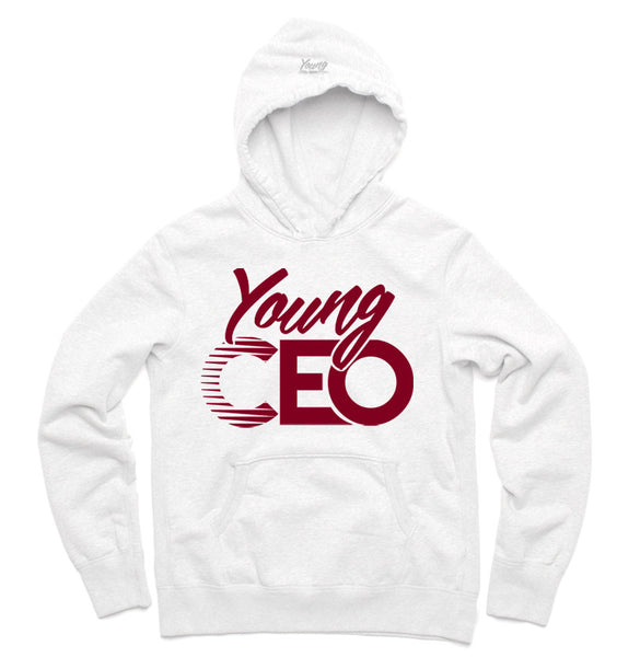 YOUNG CEO BURGUNDY LOGO WHT HOODIE