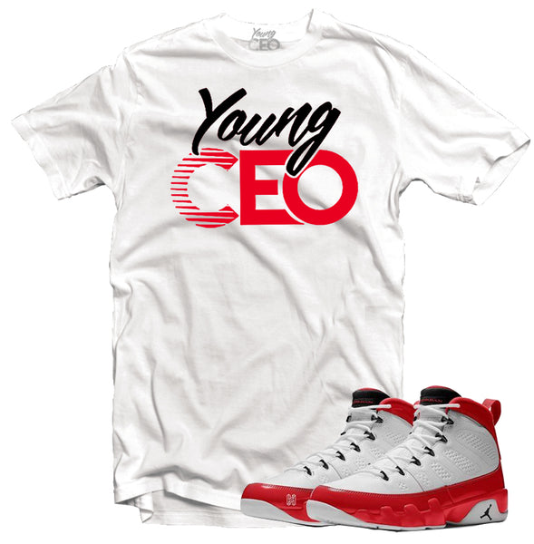 Jordan 9 gym red young ceo white tee-Young Ceo