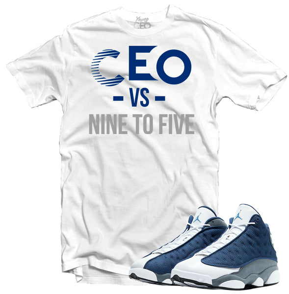"Jordan 13 Flint ""Nine to Five"" White Tee-Young CEO"