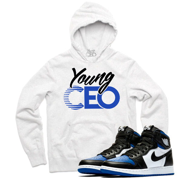 "Jordan 1 Royal ""Young CEO"" White Hoodie-Young CEO"