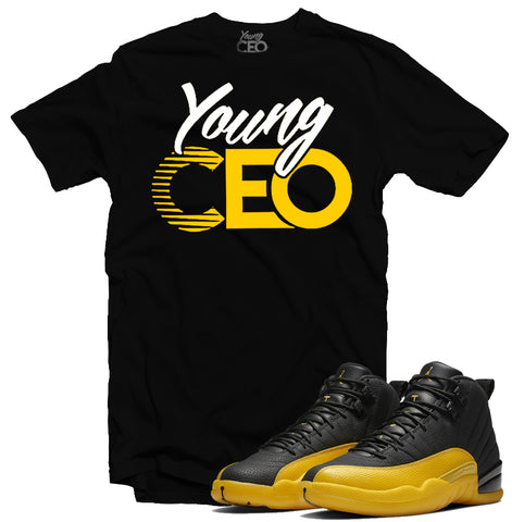 "Jordan 12 University Gold ""Young CEO"" Black Tee-Young CEO Clothing"