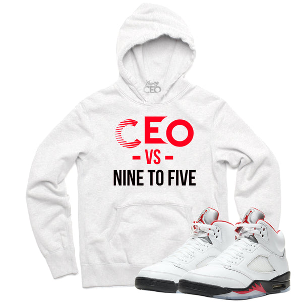 "Jordan 5 Fire Red ""Nine to Five"" White Hoodie-Young CEO"