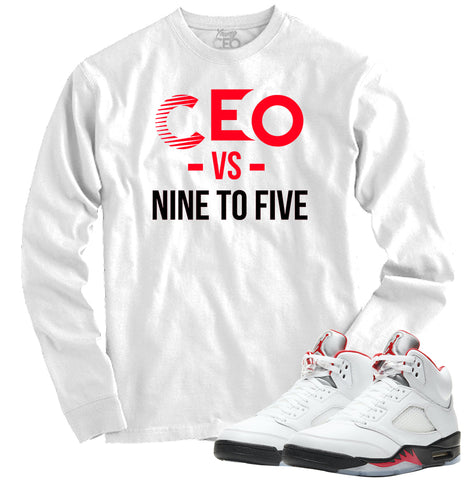 "Jordan 5 Fire Red ""Nine to Five"" White Crewneck-Young CEO"