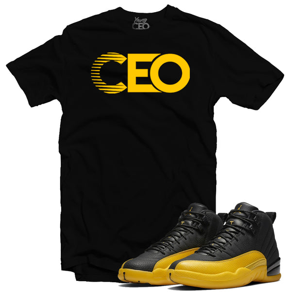 "Jordan 12 University Gold ""CEO"" Black Tee-Young CEO Clothing"