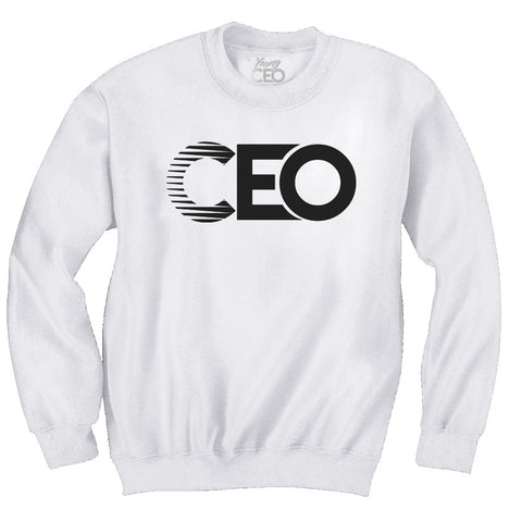 CEO WHITE CREWNECK BLACK LOGO