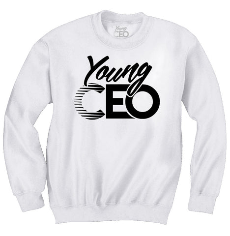 YOUNG CEO WHITE CREW NECK BLACK LOGO