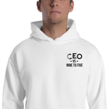 Ceo vs 9-5 White Embroidery Unisex Hoodie