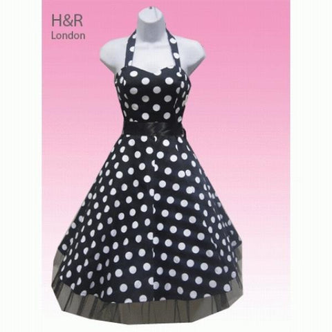 Hearts and Roses - Black and White Large Polka Dot Halterneck Dress