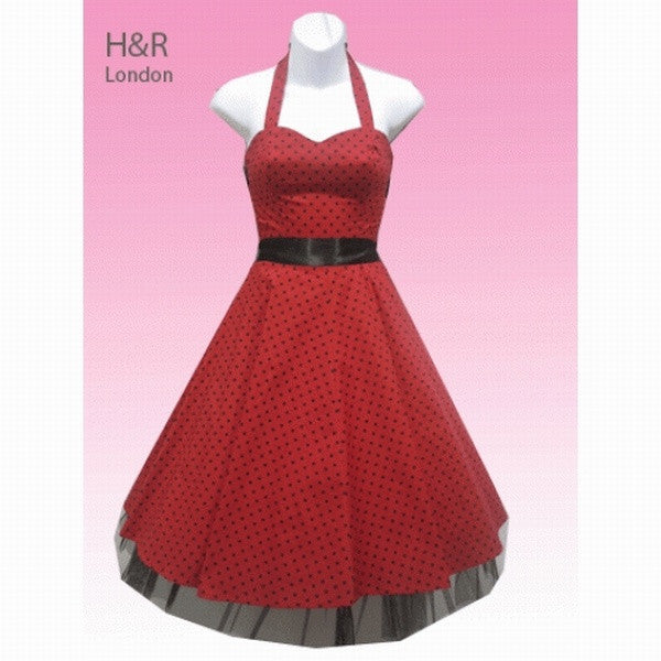 Hearts and Roses - Red and Small Dot Halterneck Dress