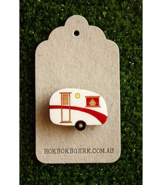 Bok Bok B'Gerk Caravan Red Brooch Limited