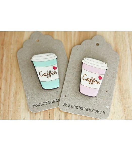 Pink Coffee Cup Brooch from JATOE - sells Bok Bok B'Gerk brooches and jewellery, jewelry.