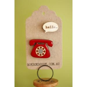 Bok Bok B'Gerk - Telephone 2 Piece Brooch