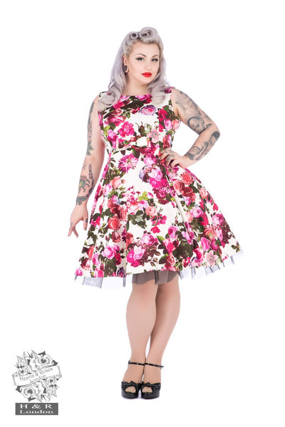 JATOE sells the Hearts and Roses Audrey 50s Cream Floral Swing Dress