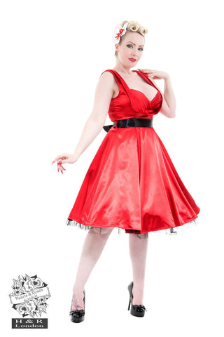 Hearts and Roses - Red Satin 50's Prom Swing Dress (6842)