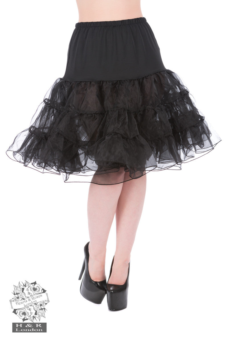 Hearts and Roses Black Petticoat S-M-L