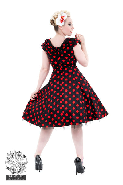 Hearts and Roses - Black Red Large Polka Dot Off Shoulder Dress 10 - 26