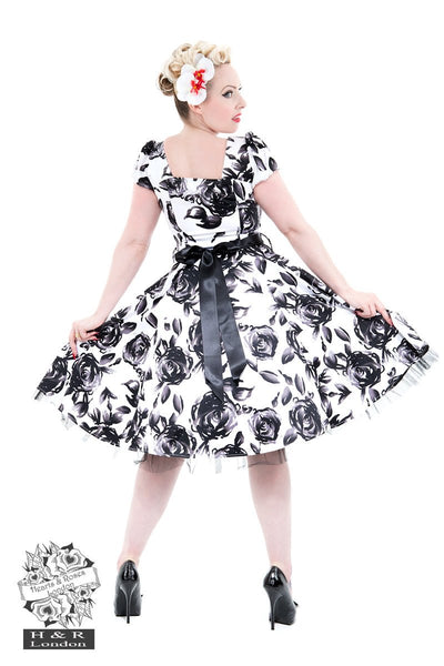 Hearts & Roses creates the most fabulous retro, rockabilly dresses. This vintage black and white floral is the most popular dress we have at JATOE