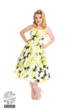 Hearts and Roses Lemon Print Halterneck Swing Dress