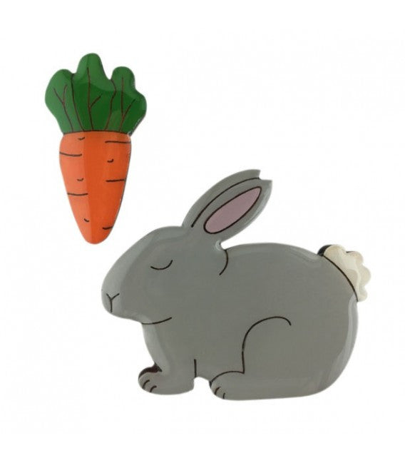 JATOE Bok Bok B'Gerk Perfect Pairs Rabbit and Carrot Brooch