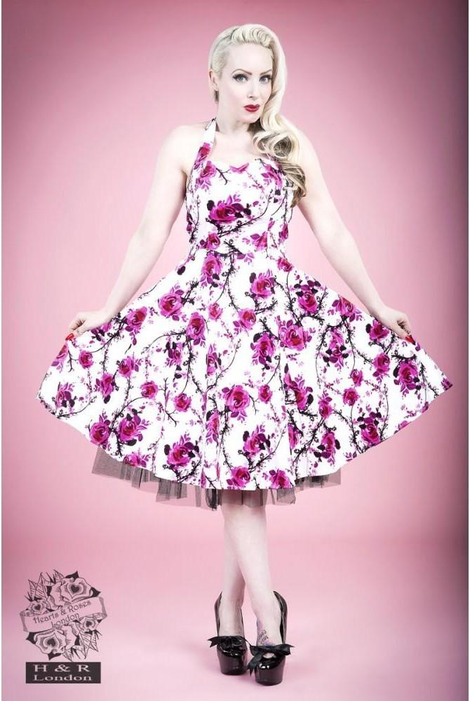 Hearts and Roses White and Pink Floral Long Dress 20-24