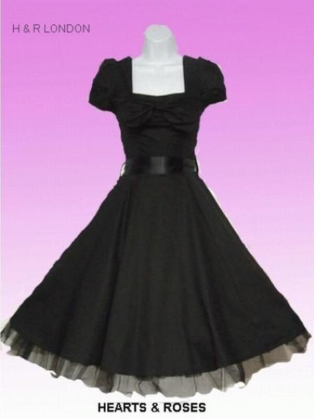 Hearts and Roses - A Black Swing Dress with Bow