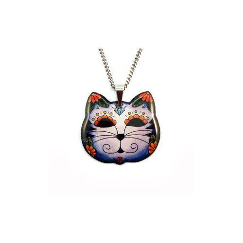 Australian online store JATOE www.jatoe.com.au sells Jubly Umph jewellery and necklaces including the Day of the Dead Kitty Cat Pendant Necklace with blue suede bag