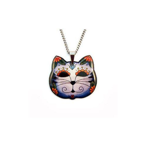 Jubly Umph Necklace - Day of the Dead Kitty Cat Pendant Necklace.