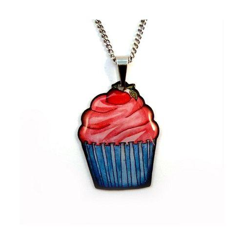 Australian online store JATOE www.jatoe.com.au sells Jubly Umph jewellery and necklaces including the rare Cupcake Pendant Necklace with blue suede bag.