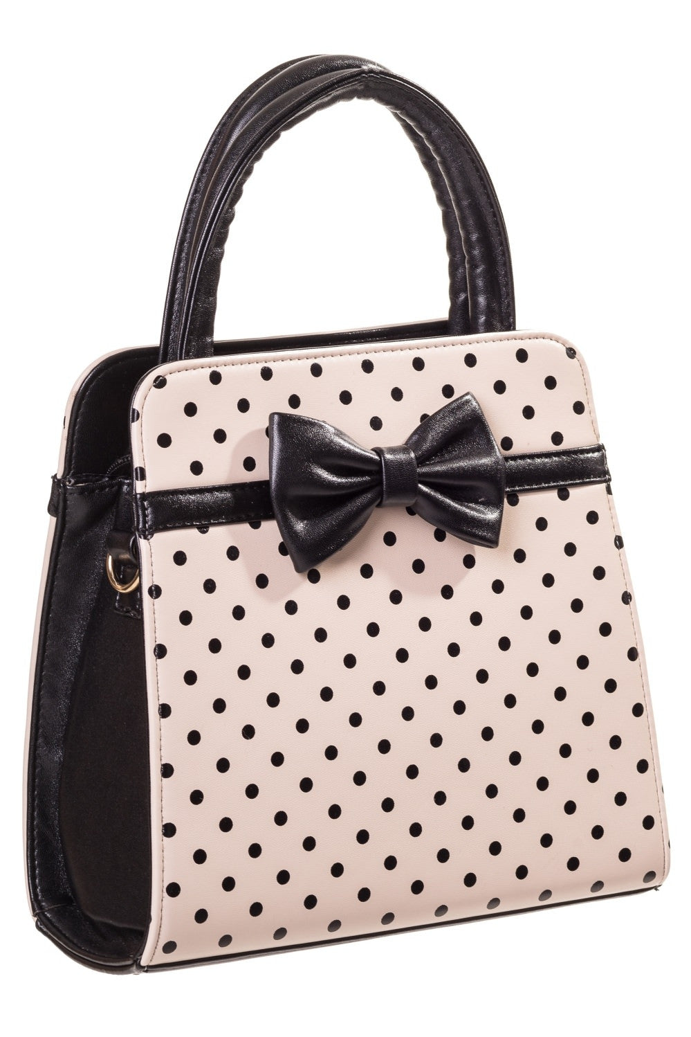 Banned - Beige with Black Polka Dots Vintage Inspired Handbag