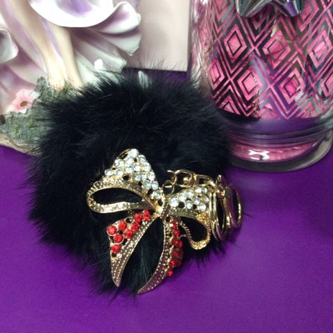 Jo's Bibs and Bobs - Diamante and Black Faux Rabbit Fur Bow Keyring and Bag Chain
